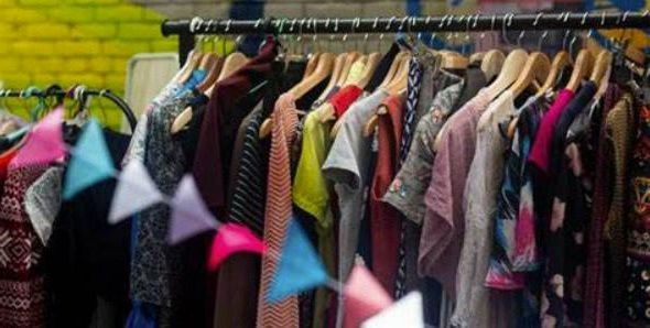 Donated clothes for sale in a thrift store
