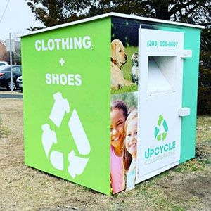 Donation bin that accepts clothes and shoes in America